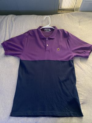 A Bathing Ape Half Purple/Half Navy Polo for Sale in Colton, CA