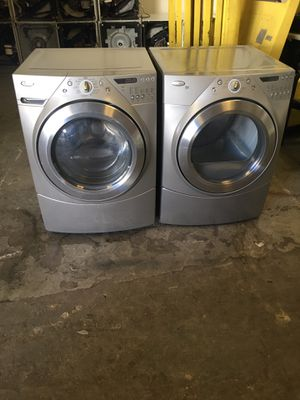Set washer and dryer brand whirlpool electric dryer everything is good working condition 90 days warranty delivery and installation for Sale in San Leandro, CA