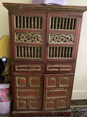 Stunning Unique Painted Wood Fretwork Cabinet for Sale in New York, NY