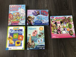 Board games Candy land, Minnie mouse candy land, frozen memory match game, emoji matching game, Moana memory match game for Sale in Winter Haven, FL