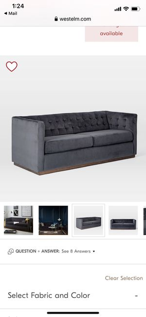 """West Elm Rochester Sofa Couch Velvet Dark Grey/Blue 80"""" $1,400 Pick Up LA for Sale in Los Angeles, CA"""