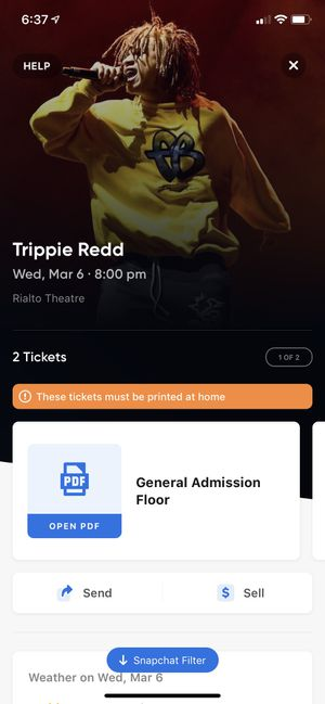 TRIPPIE REDD TICKETS FOR MARCH 6 RIALTO THEATRE for Sale in Payson, AZ