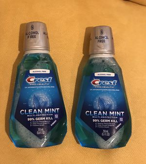 Crest Crest Pro-Health Alcohol Free Multi-Protection Mouthwash, Clean Mint, 8.4 Fl Oz - 2 Pack for Sale in Seattle, WA