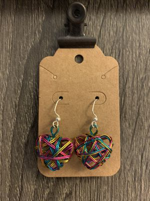 Handmade Multi-Color Heart Earrings for Sale in Plant City, FL