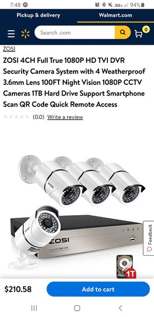 ZOSI 4CH Full True 1080P HD TVI DVR Security Camera System with 4 Weatherproof 3.6mm Lens 100FT Night Vision 1080P CCTV for Sale in Mt. Juliet, TN