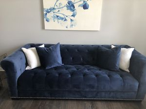 Navy Blue Velvet Sofa and Oversized Chair for Sale in North Ridgeville, OH