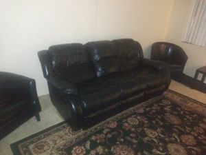 Black leather couch with recliners for Sale in Glendale, AZ