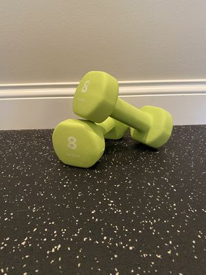 Gaiam 8 Pound Rubber Coated Dumbbells for Sale in Edwardsville, IL