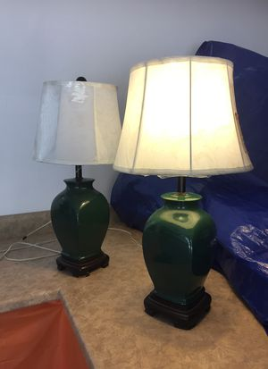 Two green ceramic lamps with white lamp shades for Sale in Heber, AZ