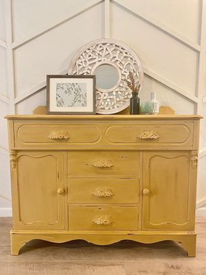 Antique refinished mustard yellow cabinet for Sale in Covington, WA
