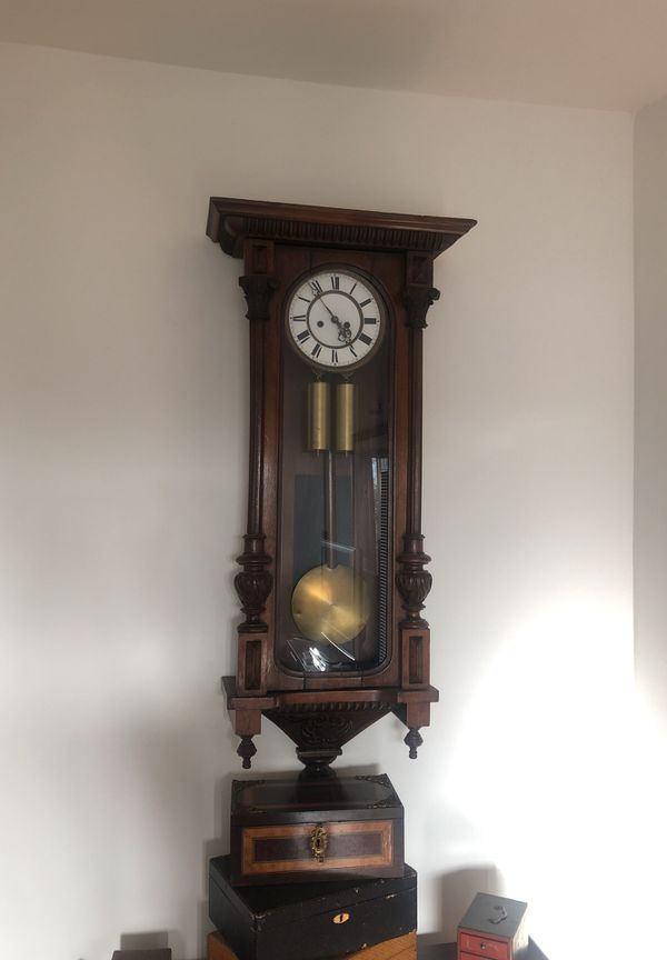 Antique 2 Weight Vienna Regulator Clock