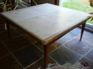 1960's Walnut Designer Table clad in Imported Travertine Signed & numbered 1 of 1 for Sale in Lynnfield, MA