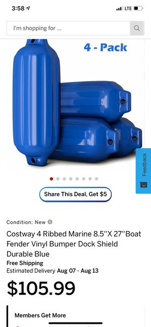 4 ribbed marine boat fender bumpers for Sale in Rancho Cucamonga, CA