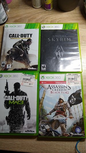 Xbox 360 games including Skyrim, MW3, Advanced Warfare, Black Flag, BF4, and more for Sale in Hanover, MD