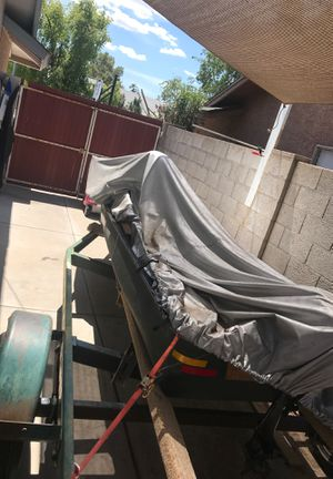 Jon Boat, Outboard and trolley, Fish finder, trailer, new tires for Sale in Gilbert, AZ