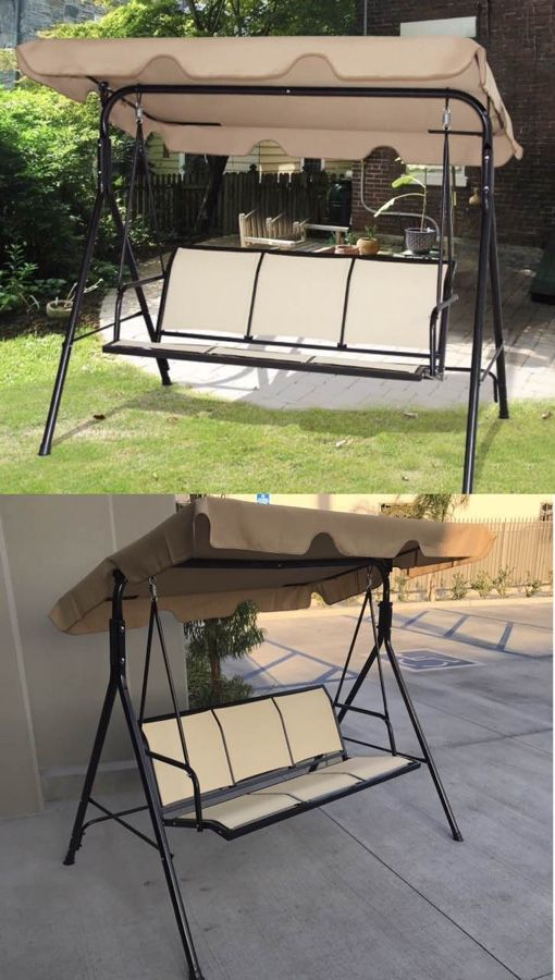 New in box $90 each 528 lbs capacity porch swing bench chair with canopy sun shade sun blocker