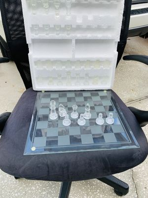 Beautiful frosted glass chessboard for Sale in Spring Hill, FL