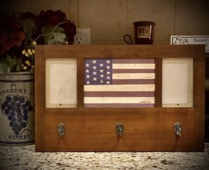 Warren Kimble Americana Flag Picture Frame Wall Hooks Folk Art by Fetco for Sale in Vernon, CT