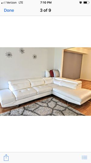 White sectional sofa. Excellent condition. No scratches, no stains. Pick up only. for Sale in Silver Spring, MD