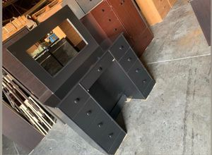 Black vanity desk with mirror for Sale in Los Angeles, CA