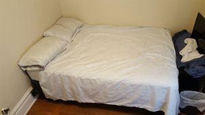 Full bed, frame, box spring, and 2 mattress protectors. Selling sheets for cheap too. for Sale in Peoria, IL