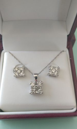 Stunning Multi-Stone Diamond Necklace with Matching Earrings Set for Sale in Arbutus, MD