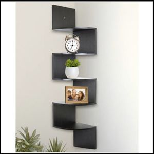 NEW 5 Tier Wall Mount Corner Shelves Espresso Finish Shelving Storage Décor for Sale in Frisco, TX