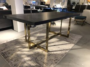 Black charcoal wood veneer mdf dining table with gold base for Sale in North Bethesda, MD