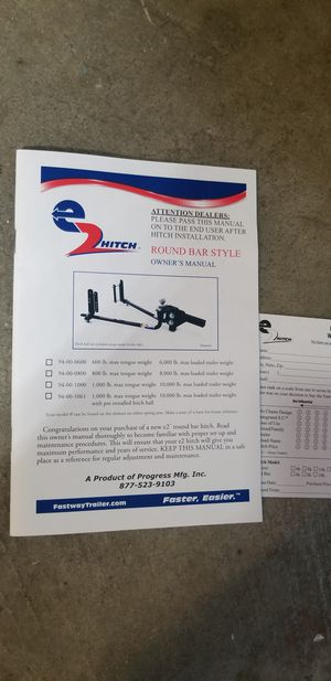 EZ hitch system. Hooks to your camper and helps with swaying going down the highway and helps so much with weight distribution. $250 for Sale in Beggs, OK