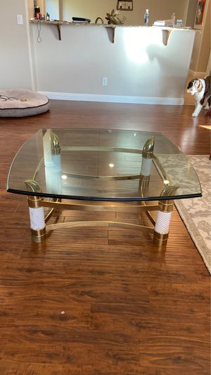 1 inch glass and brass coffee table for Sale in Phoenix, AZ