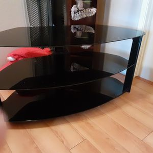 TV Stand With Black Glass for Sale in Huntington Beach, CA