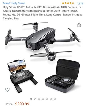 Holy Stone HS720 Foldable GPS Drone with 4K UHD Camera for Adults, Quadcopter with Brushless Motor, Auto Return Home, Follow Me, 26 Minutes Flight Ti for Sale in Edison, NJ