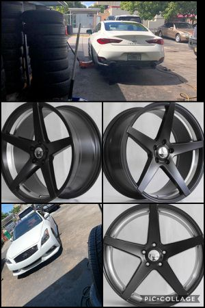 "20"" rims new Tuner Sateen Black w/Machine inner 5x114 staggered 20x8.5 and 20x9.5 most Infiniti,Nissan,Hyundai for Sale in Miami, FL"