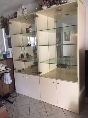 Buffet china glass cabinet hutch display case storage shelves for Sale in Santa Ana, CA