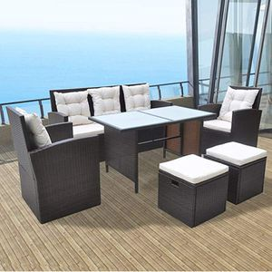 Festnight 6 Piece Outdoor Wicker Patio Garden Dining Set, Poly Rattan Furniture Brown for Sale in New York, NY