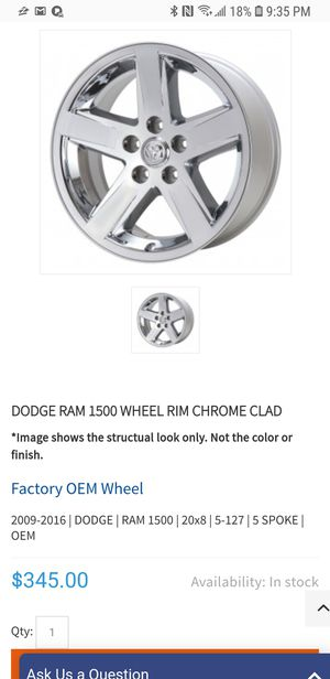 Ram 1500 chrome clad rims for Sale in Mount Sterling, OH