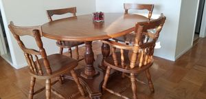 Solid Oak Pedestal Dining Table and Chairs for Sale in Washington, DC