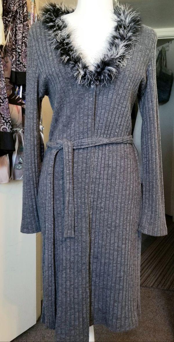 Long gray sweater coat jacket