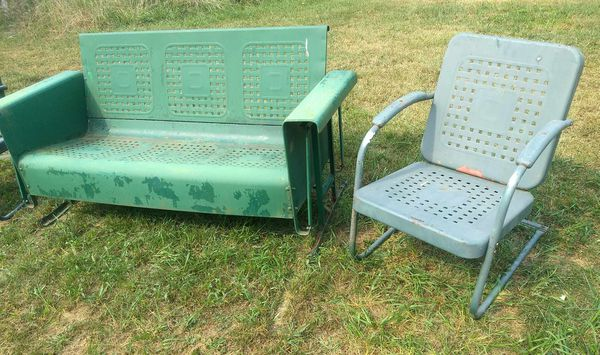Vintage Metal Porch Glider set chairs