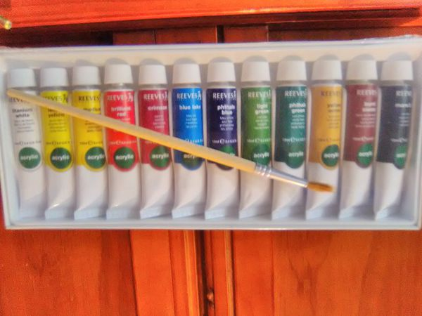 High End Adjustable Wooden Easel And Reeves Paints Set