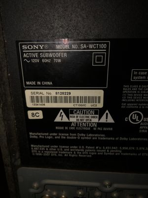 Sony SA-WCT100 Subwoofer and Sound bar for Sale in Mechanicsburg, PA