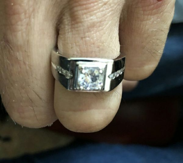 S925 Silver White Gold Plated 1CT Round CZ Mens Ring
