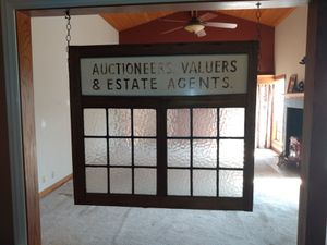 Antique Leaded glass window with business name for Sale in Long Beach, CA