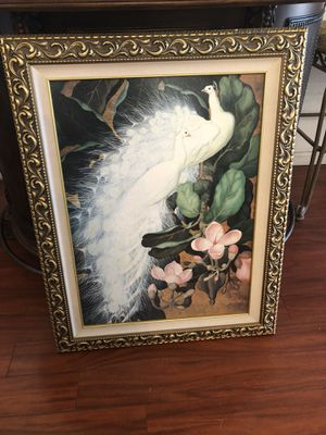 PEACOCK HEAND PAINTED ART .gold frame . New!!!! for Sale in Modesto, CA