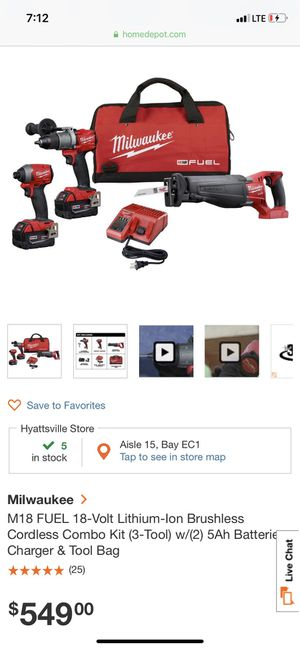 Milwaukee m18 fuel 18volt for Sale in Silver Spring, MD