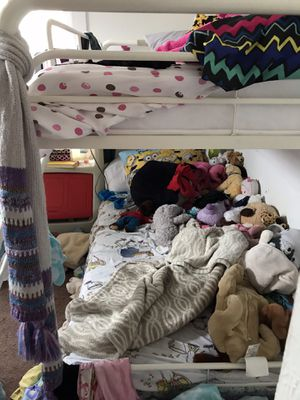 White metal frame bunk bed NOT INCLUDED MATTRESS for Sale in Pittsburgh, PA
