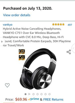 Hybrid Active Noise Cancelling Headphones, VANKYO C751 Over Ear Wireless Bluetooth Headphone with CVC 8.0 Mic, Deep Bass, Hi-Fi Sound, Comfortable for Sale in Turlock, CA