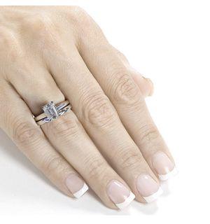 Beautiful 14k White Gold 1 Carat Moissanite Emerald Cut Diamond Ring Set for Sale in Walnut, CA