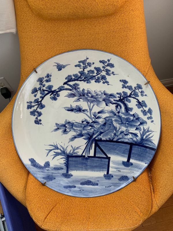 """Antique Japanese Imari Hand Painted Charger - 22"""""""