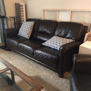 Expresso Leather Couch Set Raymour & Flanigan Top Grain for Sale in Portland, OR